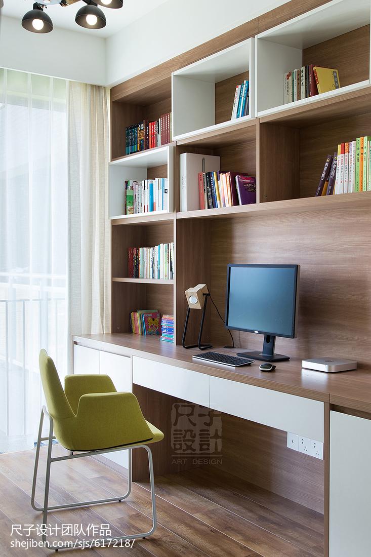 地中海风格儿童卧室_现代风格书柜书桌一体设计 – 设计本装修效果图