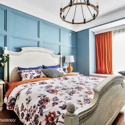 现代美式蓝色系卧室床头背景墙设计