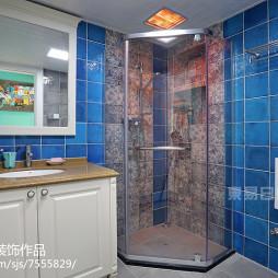 美式蓝色瓷砖卫浴