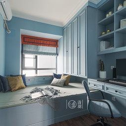 蓝色系美式榻榻米书房装修