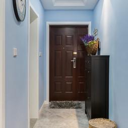 美式蓝色玄关墙漆