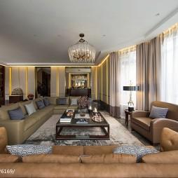 别墅样板房客厅皮质沙发