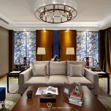 蓝海东方中式客厅设计图