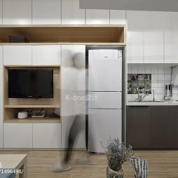 现代小户型客厅厨房一体设计图