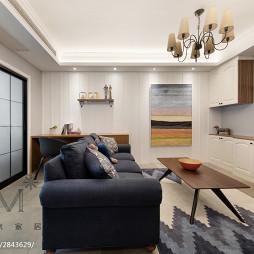 80m²休闲美式客厅沙发设计图