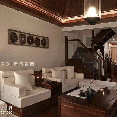 221㎡东南亚客厅沙发摆放设计图