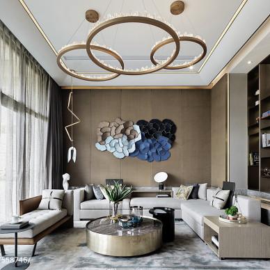 别墅样板房客厅设计效果图