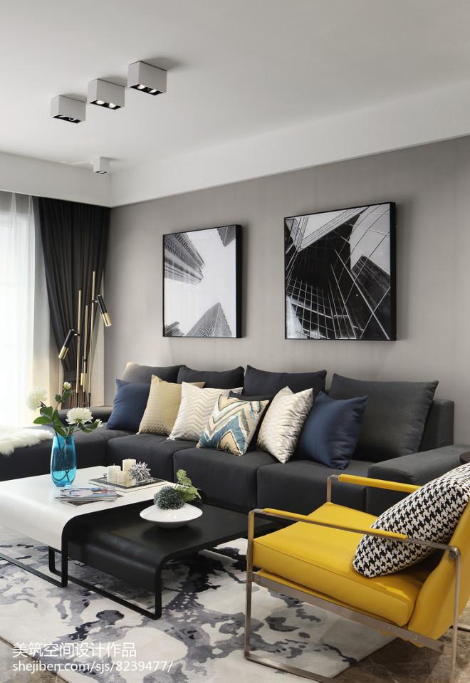 简单现代三居客厅沙发设计图