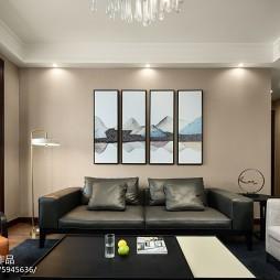 简单现代风三居客厅沙发背景墙设计图