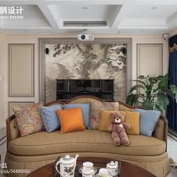 245㎡美式客厅沙发背景墙设计图