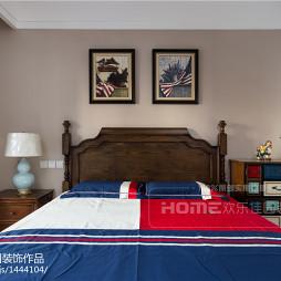 130m²美式卧室床头画设计图