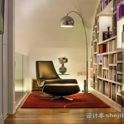 现代风格阁楼书架整体装饰图