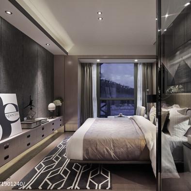 个性现代样板房卧室设计图