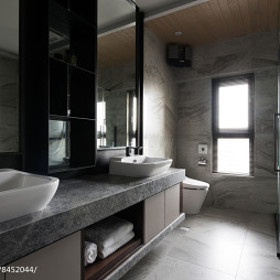 暗色系现代二居卫浴设计图