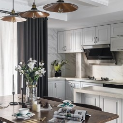 优雅混搭二居厨房餐厅一体设计图
