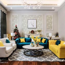 美式别墅客厅左右沙发设计图片