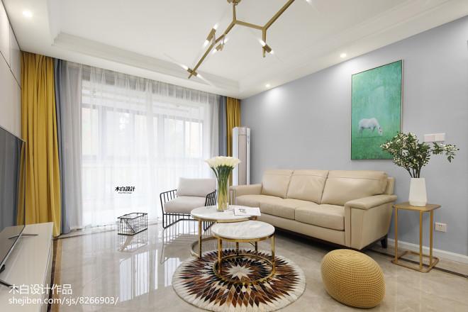 现代三居客厅桌椅设计图