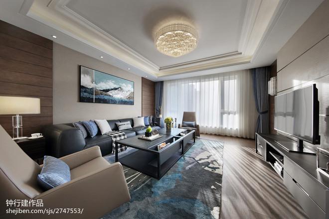 现代四居客厅吊灯设计图片
