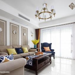 美式四居客厅吊灯实景图