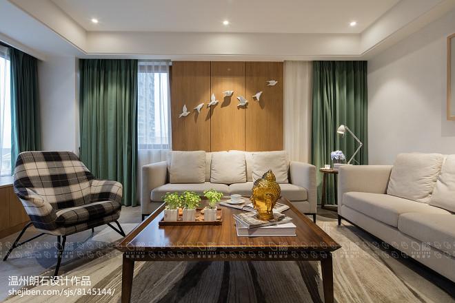 现代四居客厅沙发实景图