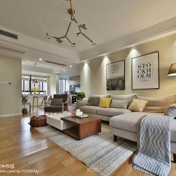 现代三居客厅吊灯实景图片