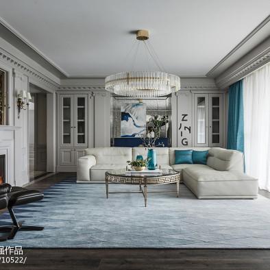 浪漫美式四居客厅吊灯设计图