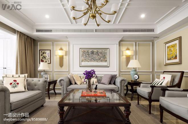 轻奢美式别墅客厅设计图片