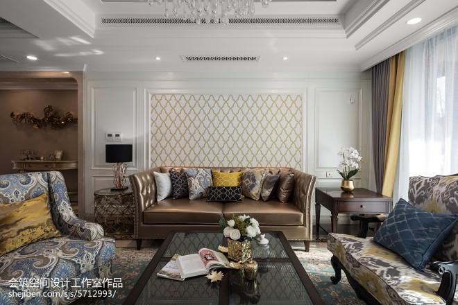 轻奢美式复式客厅设计图