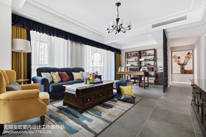 简洁美式三居客厅设计图片