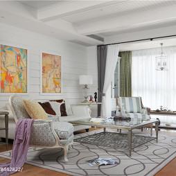 白色系美式别墅客厅设计图片