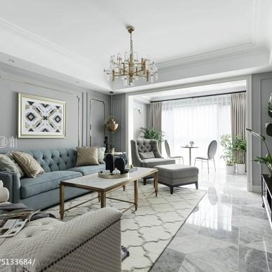 灰色系美式四居客厅设计图