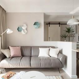 73m² 北欧混搭客厅沙发设计图