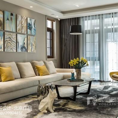 现代别墅客厅地毯设计实景图片