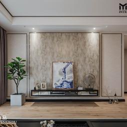 中式三居客厅背景墙设计图
