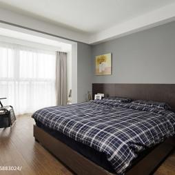 现代卧室灰色背景墙设计图