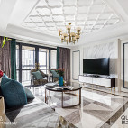 170㎡现代美式客厅吊顶设计
