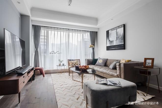 灰色系混搭客厅设计实景