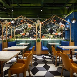 食儒餐廳拼接瓷磚設計