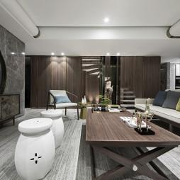 190㎡现代中式客厅设计实景