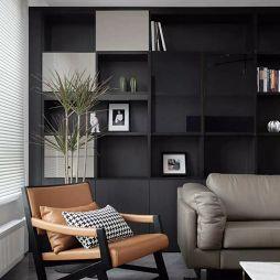 黑白现代客厅书柜设计图