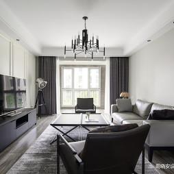 黑白灰美式客廳設計實景圖片