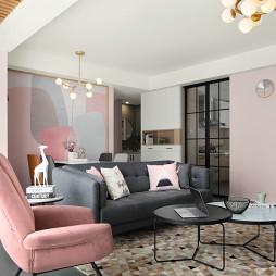 現代粉色系客廳沙發設計圖