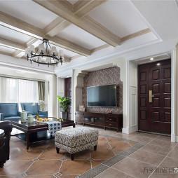 美式客厅吊顶设计实景图片