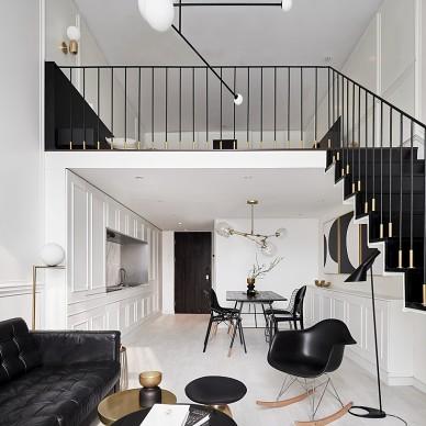 黑白混搭复式客厅设计