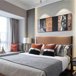 现代样板房卧室背景墙设计