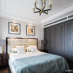 美式三居卧室背景墙装修设计图