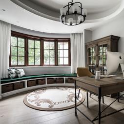 素美-美式风三居阳台改造书房设计美图