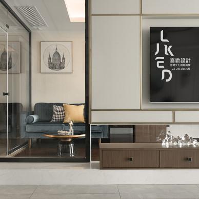 株洲湘水湾现代风客厅镜子电视墙设计图
