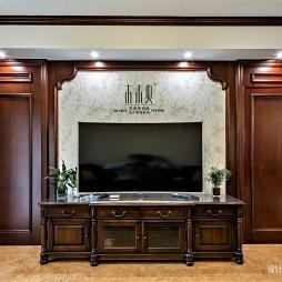 最新美式客厅背景墙实景图