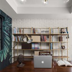 美式案例绿叶背景舒服书房设计图